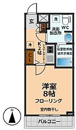 京王井の頭線 西永福駅 徒歩7分の賃貸マンション 5階1Kの間取り