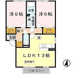 クロスロードA・B棟[1階]の間取り