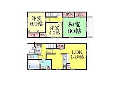 [テラスハウス] 兵庫県神戸市東灘区森北町1丁目 の賃貸【兵庫県 / 神戸市東灘区】の間取り
