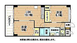 北九州都市モノレール小倉線 徳力嵐山口駅 徒歩17分の賃貸マンション 3階2LDKの間取り