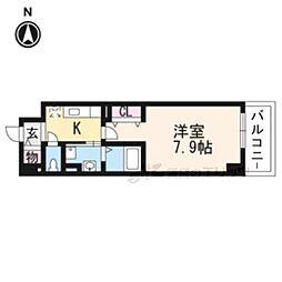 京阪本線 中書島駅 徒歩30分の賃貸マンション 2階1Kの間取り
