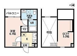 愛知県名古屋市西区笠取町2丁目の賃貸アパートの間取り
