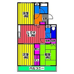 福岡県福岡市南区五十川2丁目の賃貸マンションの間取り