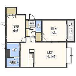 北海道札幌市東区北二十条東20丁目の賃貸アパートの間取り