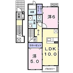神奈川県川崎市麻生区上麻生7丁目の賃貸アパートの間取り