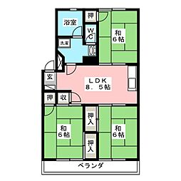 コーポ第2丸菊[4階]の間取り