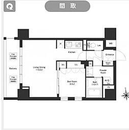 都営大江戸線 新御徒町駅 徒歩11分の賃貸マンション 2階1LDKの間取り