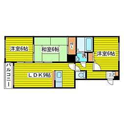 北海道札幌市東区東苗穂三条2丁目の賃貸マンション 4階3LDKの間取り