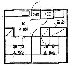 東京都小金井市中町2丁目の賃貸アパートの間取り