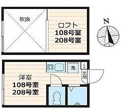 スタジオアパートメント大久保[208号室号室]の間取り