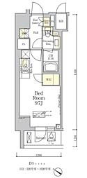 ザ・クラス南麻布 1階ワンルームの間取り