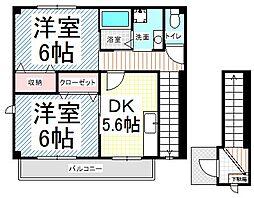 長野県長野市浅川東条の賃貸アパートの間取り