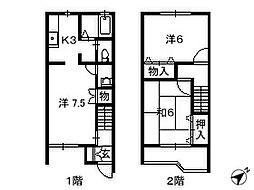 千葉県四街道市美しが丘の賃貸アパートの間取り