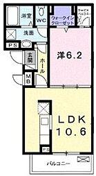 JR相模線 社家駅 徒歩10分の賃貸アパート 3階1LDKの間取り