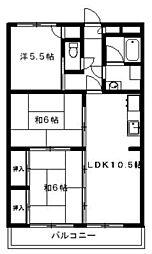 アメニティハウス1・2 3階3LDKの間取り