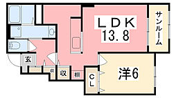 兵庫県姫路市香寺町溝口の賃貸アパートの間取り