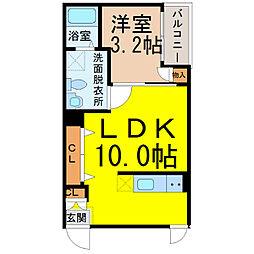 名古屋市営東山線 名古屋駅 徒歩8分の賃貸アパート 3階1LDKの間取り