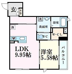 シャーメゾン六甲道 3階1LDKの間取り