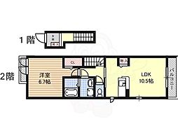 JR関西本線 八田駅 徒歩17分の賃貸アパート 2階1LDKの間取り
