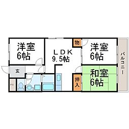エコロシティ七松Ⅱ[2階]の間取り
