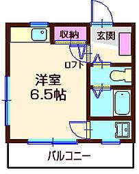 神奈川県横浜市神奈川区六角橋2丁目の賃貸アパートの間取り