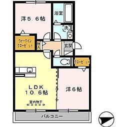 さくらHILL B棟[305号室]の間取り