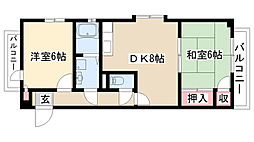 愛知県名古屋市天白区平針3の賃貸マンションの間取り