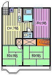 第2富田コーポ[203号室]の間取り