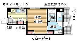 兵庫県神戸市中央区東雲通2丁目の賃貸マンションの間取り