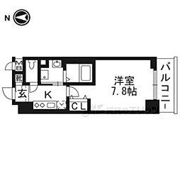 べラジオ京都西陣602 6階1Kの間取り