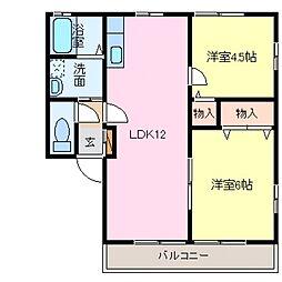 レトアDUO B棟[102号室号室]の間取り