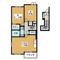 静岡県富士宮市阿幸地町の賃貸アパートの間取り