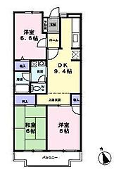 東京都あきる野市野辺の賃貸マンションの間取り
