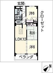 ハートウッド勝川[4階]の間取り