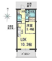 アウトルック 3階1LDKの間取り