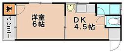 福岡県春日市光町2丁目の賃貸アパートの間取り