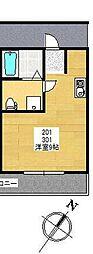 神奈川県愛甲郡愛川町半原の賃貸アパートの間取り