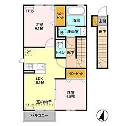 コーポファミーユM・N・O[2階]の間取り