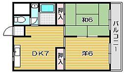 大阪府摂津市鳥飼和道1丁目の賃貸マンションの間取り