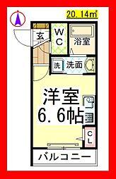 AF ラシュレ横濱瀬谷(新築ヘーベルメゾン・Wi-Fi付) 2階ワンルームの間取り