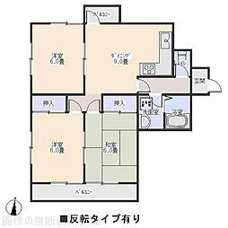 愛知県岡崎市六供町字3丁目の賃貸マンションの間取り
