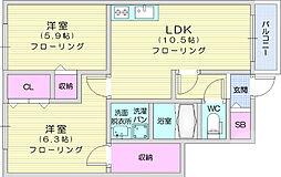 仙台市地下鉄東西線 八木山動物公園駅 3.2kmの賃貸アパート 1階2LDKの間取り