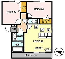 大阪府交野市私部6丁目の賃貸アパートの間取り