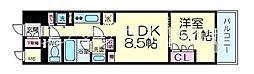 シティカレント新大阪 2階1LDKの間取り