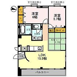 パークハイム弐番館 A棟[A202号室]の間取り