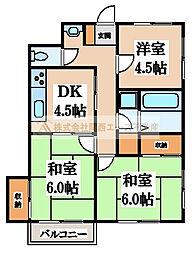 西川マンション[4階]の間取り