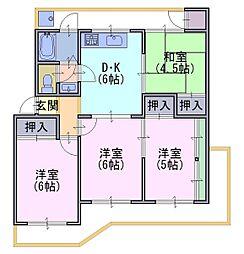 南円明寺ケ丘団地1棟302号[3階]の間取り