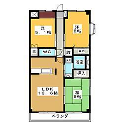 コーディアル三好[2階]の間取り