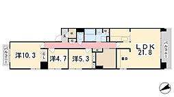 兵庫県姫路市飯田1丁目の賃貸マンションの間取り