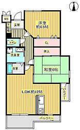 カルム新御堂[2階]の間取り